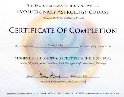 Shawn Limbach Certificate for Evolutionary Astrology Training