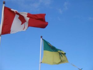 Canada and Saskatchewan's Flags