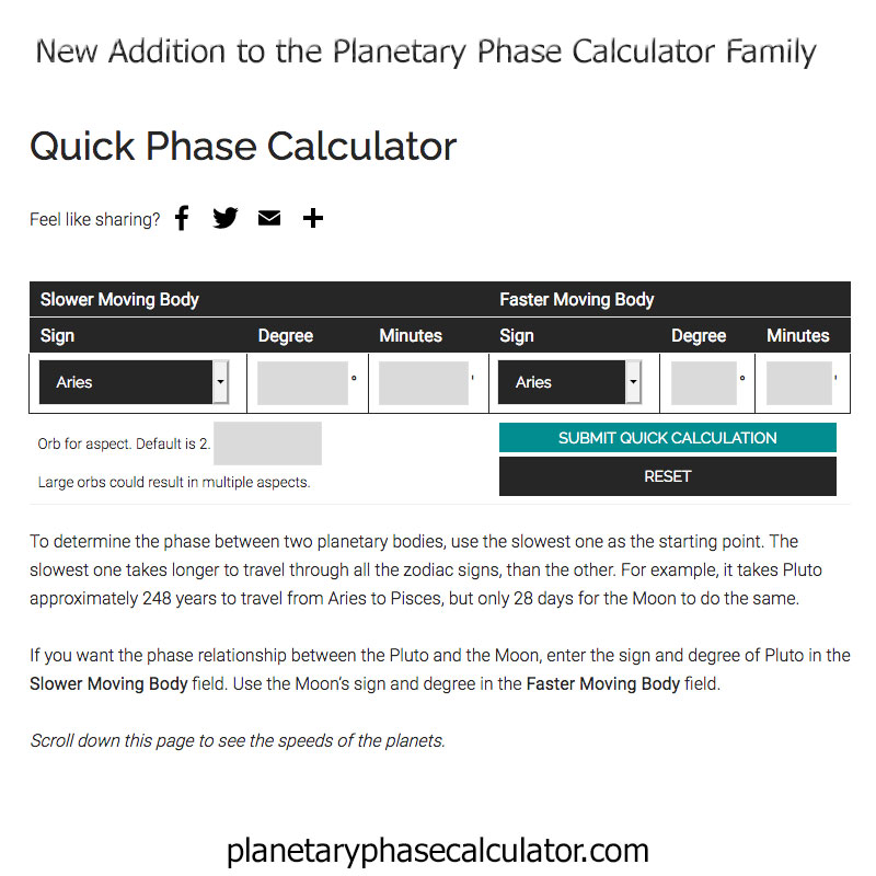 Image of the Quick Phase Calculator